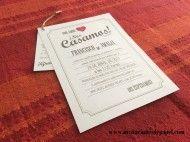 invitaciones de boda vintage y rusticas con papel blanco