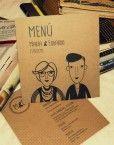 minuta-menu-boda-dibujo-caricatura-dibujo-personalizado-pareja-novios-evento-moderna-hipster-informal-original-diferente-divertida-cool