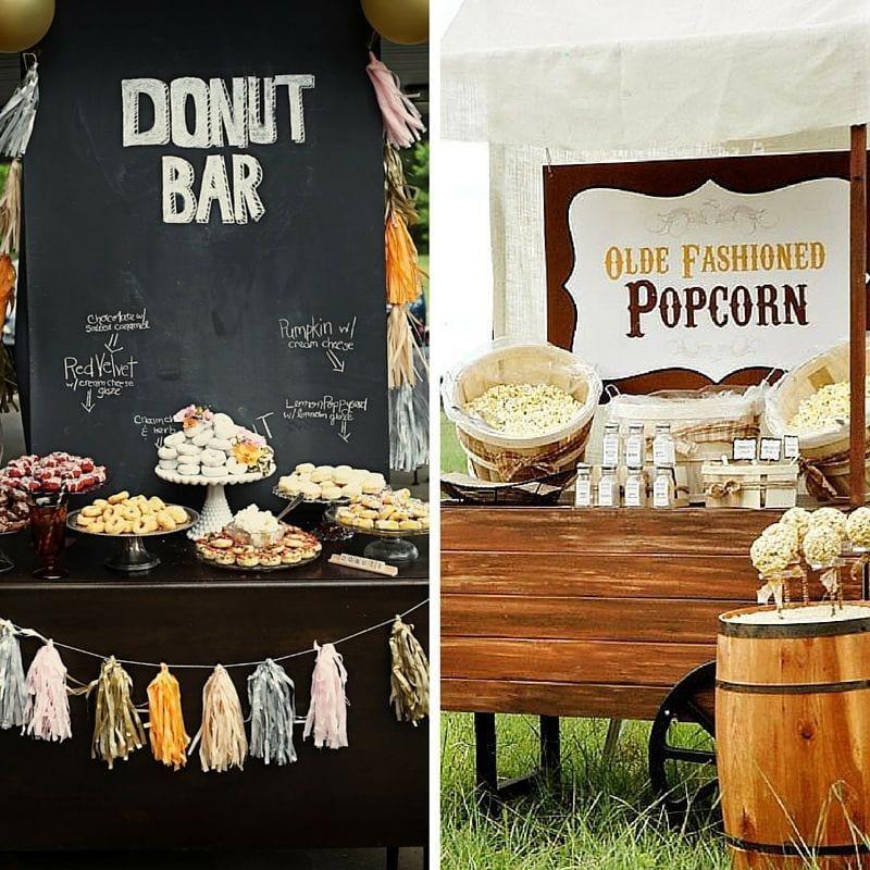 Rincon Decorativo Dulce para Boda con Donuts y Palomitas
