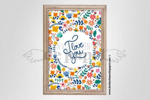 Lamina Romantica con Flores de Colores y Frase i Love u