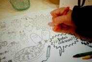 Mantel para pintar con colores por los niños que acudan a un evento como una comunion, bautizo, boda, cumpleaños