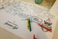 Mantel con dibujos para colorear por los niños invitados a una comunion, boda, bautizo o evento