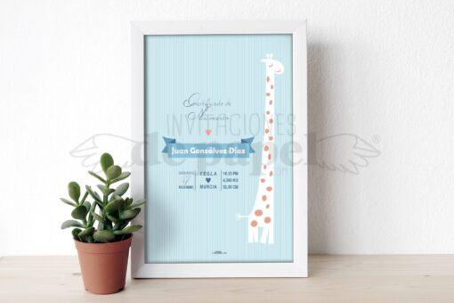 Lamina Personalizada de Nacimiento o Natalicio para Regalo a un Bebe Recien Nacido con Jirafa en Azul
